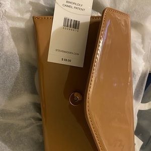 Brown Camel Patent Leather Clutch